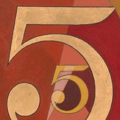 The number 5 repeated over a red background