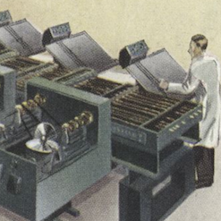 A cartoon man looks at printouts from old machines