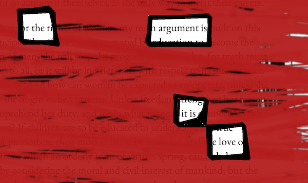 "Scribbled red and black lines. The words ""the argument is love"" are visible"