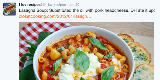 A screenshot from twitter showing a fake recipe