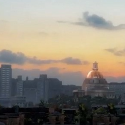 A screenshot from a videogame showing the Boston skyline