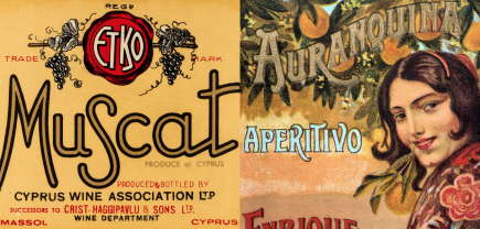 Two orange vintage wine labels, words read Muscat and Apertivo