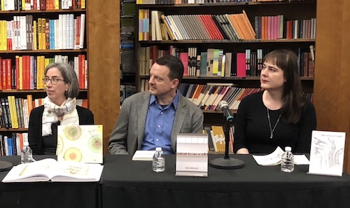 Liza Daly, Nick Montfort, and Allison Parrish at a book reading at the Harvard Book Store in 2018