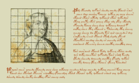 Diagram of a man in a grid, plus more strange writing