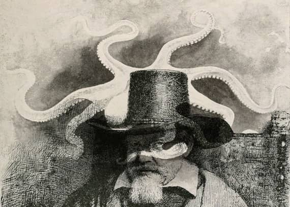 Surreal composite of a man in a top hat and an octopus